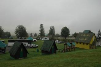 Gelände des Camps oft in Wolken
