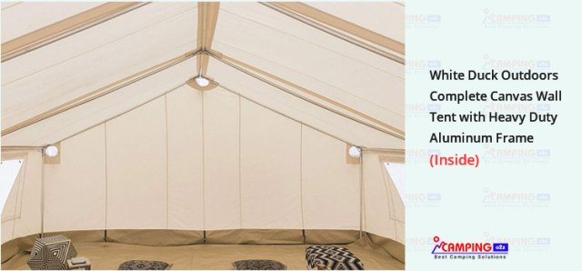 White duck outdoors complete canvas wall tent inside