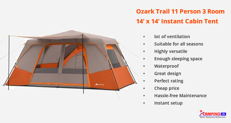 Instant Cabin Tent Ozark Trail 11 Person 3 Rooms Review 2019