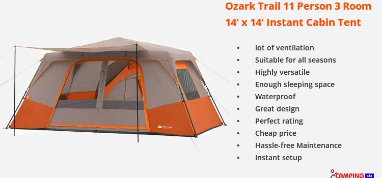 Instant Cabin Tent 11 Person Ozark Trail