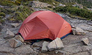 A modern two person, lightweight hiking dome t...