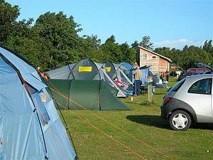 English: Camping at Findhorn Tents at Findhorn...