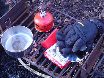 A typical back-country camp kitchen setup.