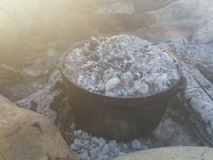 Dutch oven with coals on top