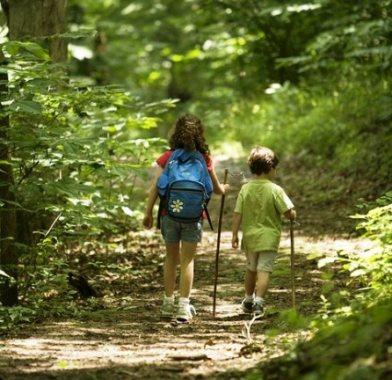 Image of kids hiking backpacks