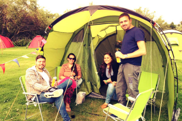 Group around 4 Person Pre-pitched Tent Edinburgh Festival and Fringe Camping