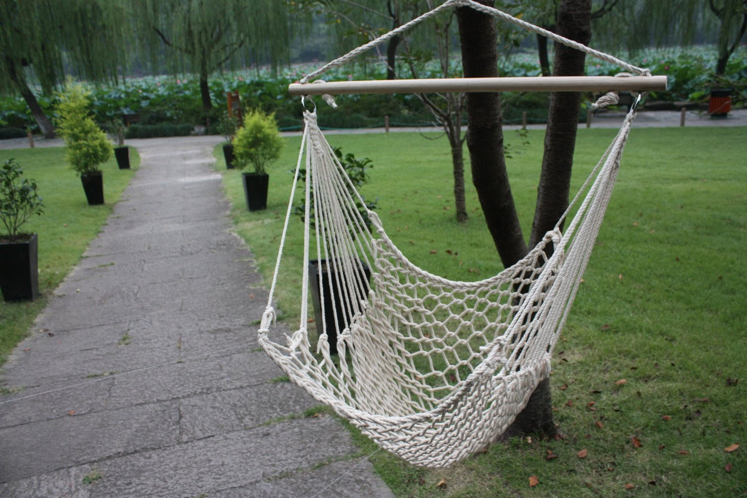 Hammock Cotton Swing Camping Hanging Rope Chair Wooden