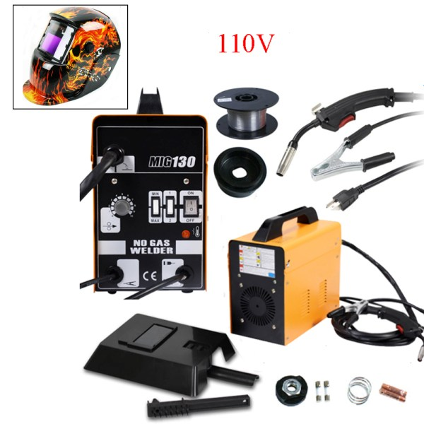 MIG 130 Electric Welder Welding Machine Weld Kit 110V with Helmet     MIG 130 Electric Welder Welding Machine Weld Kit 110V with Helmet Wire Mask  New