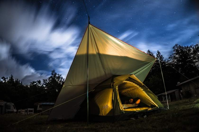 night camping with a tent