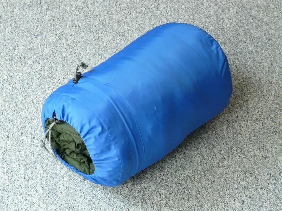 sleeping bag in a compression bag