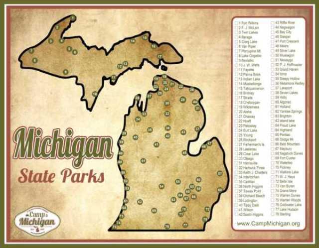 state parks in michigan map Free Michigan State Park Checklist Map Camp Michigan