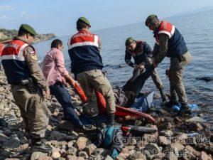 Guardas turcos retiram do Mar Egeu corpo de imigrante que morreu em um naufrágio ocorrido neste sábado (30/01) – Foto: Ozan Köse/AFP