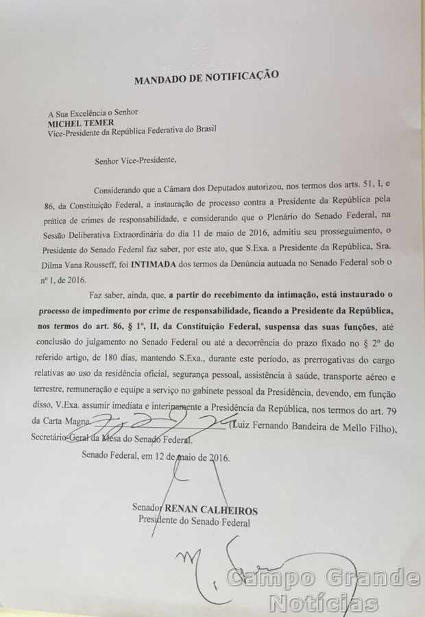 Notificação enviada a Michel Temer e assinada por ele – Foto: Reprodução