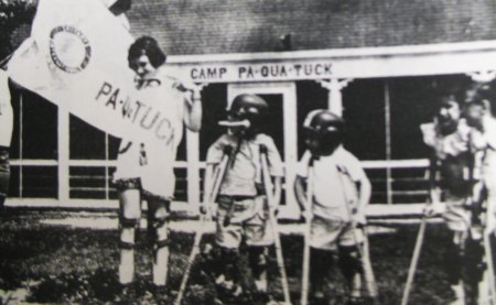 otary Club of the Moriches welcomes a group of children with Polio at the first official session at Camp Pa-Qua-Tuck