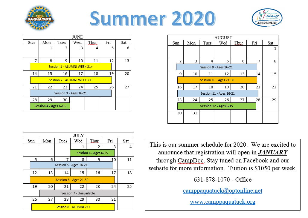 Summer schedule and tuition