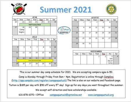summer calendar june 28th to september 3rd