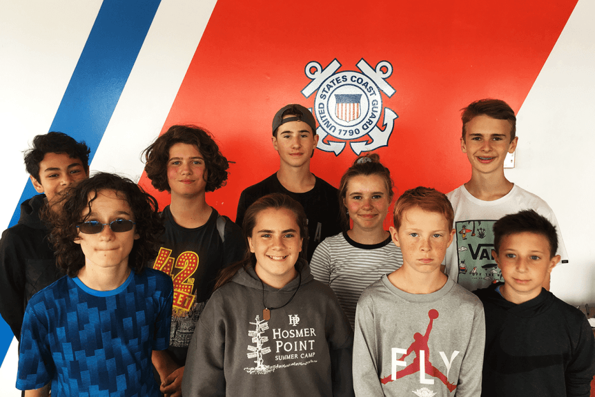Campers at the US Coast Guard station in Burlington Vermont
