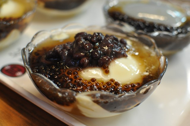 Soft tofu with red bean and tapioca pearls