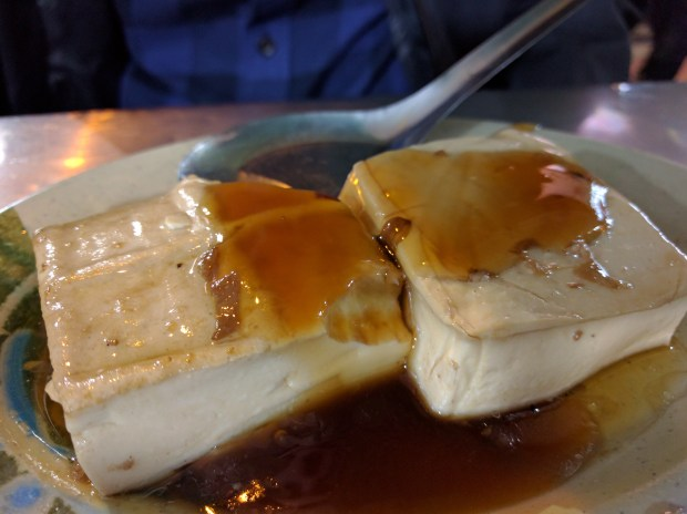 Fresh tofu with oyster sauce