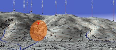 【平面図を3次元に】カシミールで金鳥山あたりを「箱庭」に。