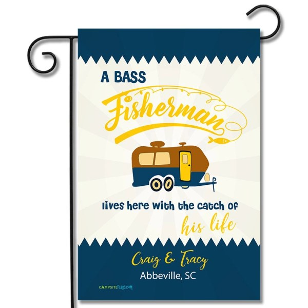 Personalized RV Camping Flag A Fisherman Lives Here With The Catch Of His/Her Life Travel Trailer