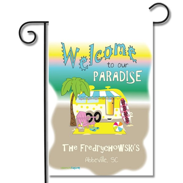 Personalized RV Camping Beach Flag Welcome To Our Paradise Travel Trailer