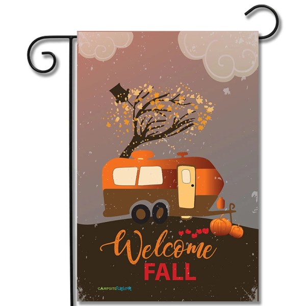 RV Camping Flag Welcome Fall Travel Trailer