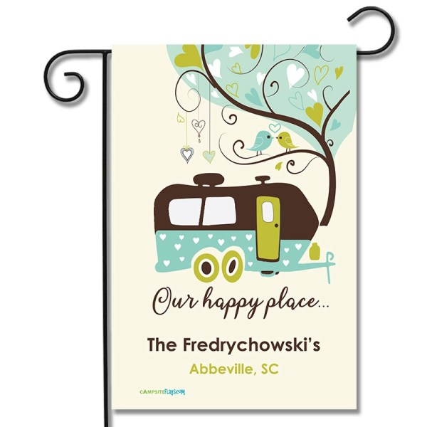 Personalized RV Flag Our Happy Place Travel Trailer