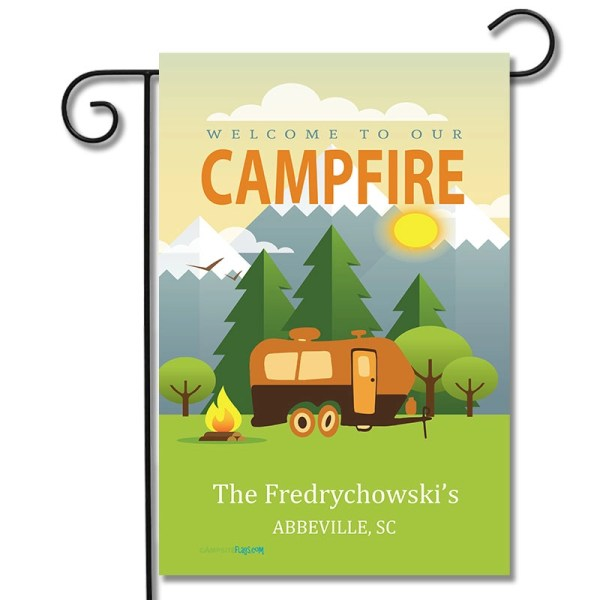 Personalized RV Camping Flag Welcome To Our Campfire Travel Trailer