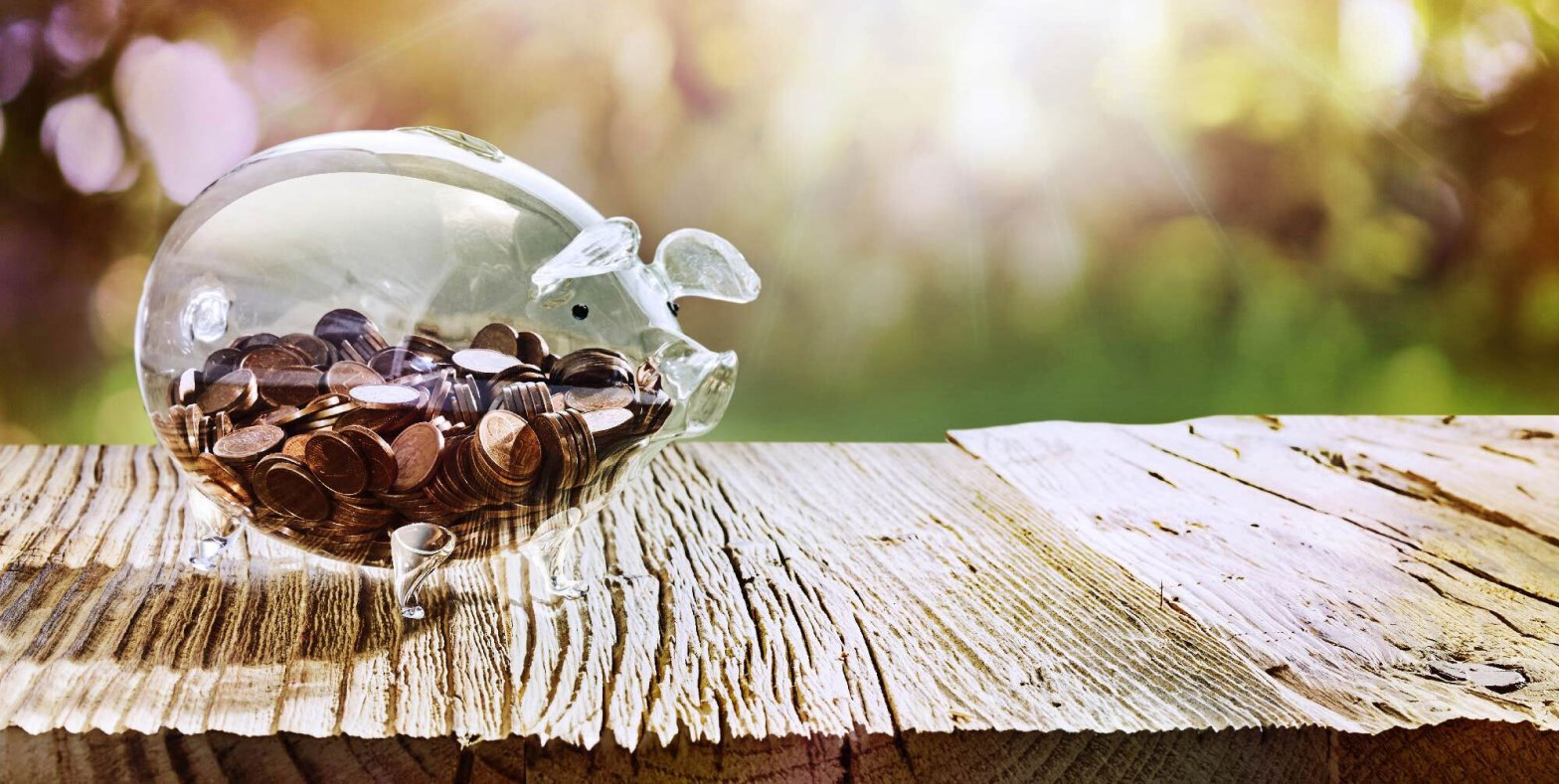 full glass piggy bank with coins in it sitting on a wooden picnic table