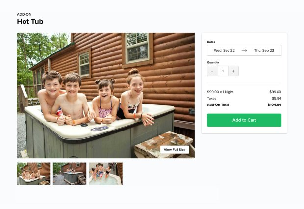 Children in hot tub at campground cabin on website checkout page