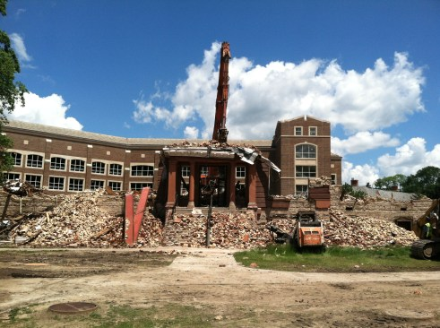 The Final Days of Morrill Hall, only the front remains, via Katy Meyers