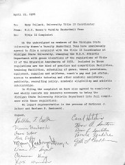 Title IX complaint letter from MSU Women's Basketball Team. Courtesy MSU Archives