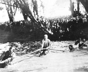 Red Cedar tug of war- rivalry between freshman and sophomores, 1913. Courtesy MSU Archives