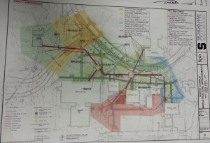 Plans detailing 2014's North Campus Infrastructure Improvements; courtesy MSU IPF