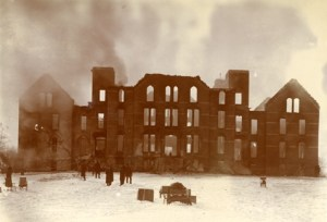 The first Wells Hall burned in 1905