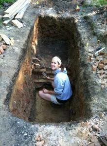 Excavating the Saints' Rest basement! That's me!