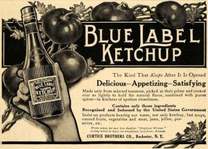 The benzoate content now appears on the bottle label in this 1910 ad - Image Source