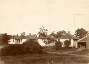 Detention Hospitals with Horticultural Barn visible in right corner - Image courtesy of MSU Archives & Historical Collections
