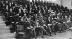 Chemistry Class circa 1914. Several different shoe and suit styles are represented. Image courtesy of MSU Archives & Historical Collections