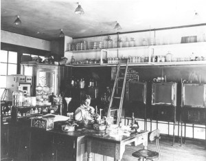 Various types of laboratory glass can be seen in this photograph of the Bacteriology laboratory from 1905. Image courtesy of MSU Archives & Historical Collections