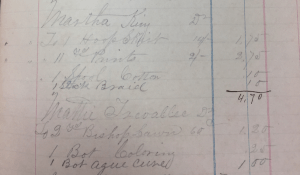 Saint's Rest Account Book showing purchase of hoop skirt, fabric, medicine and other personal items. Image courtesy of MSU Archives & Historical Collections