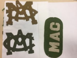 Felt MAC letters sewn by male student (Scrapbook #331). Image courtesy of MSU Archives & Historical Collections.