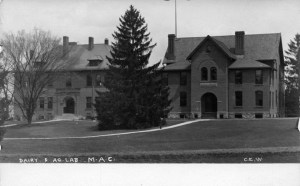 Agricultural Laboratory (aka Cook Hall – on right) and the Dairy and Forestry Building (aka Chittenden Hall) (left). Image courtesy of MSU Archives & Historical Collections