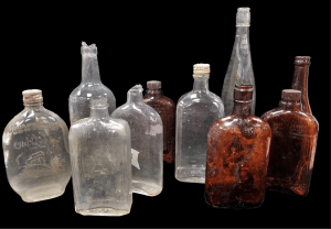 A variety of alcohol bottles recovered from the Brody/Emmons amphitheater excavations.