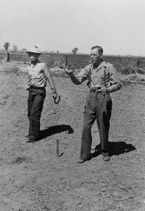 Men playing horseshoes circa. 1942. Image source.