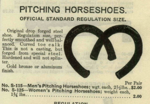 1929 catalog featuring pitching horseshoes. Image source.
