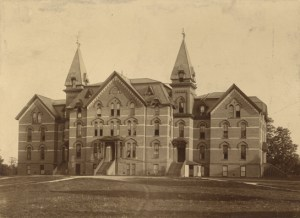 Front view of the original Wells Hall, date unknown. Courtesy of MSU Archives & Historical Collections. Image Source.