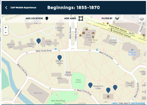 "A screenshot of the editor view of the interactive map showing five location points organized within the permanent exhibit ""Beginnings."" This exhibit covers the first era of MSU's history from 1855 to 1870."
