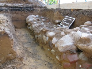 A photo of the foundations of College Hall, excavated in 2009 during sidewalk replacement around Beaumont Tower.